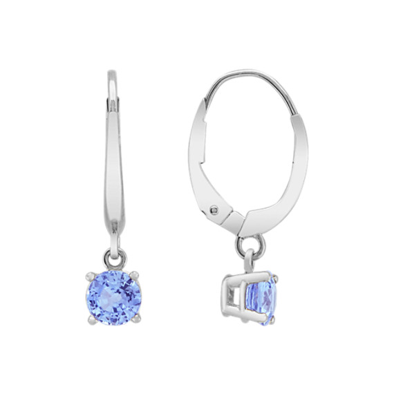 Round Ice Blue Sapphire Earrings
