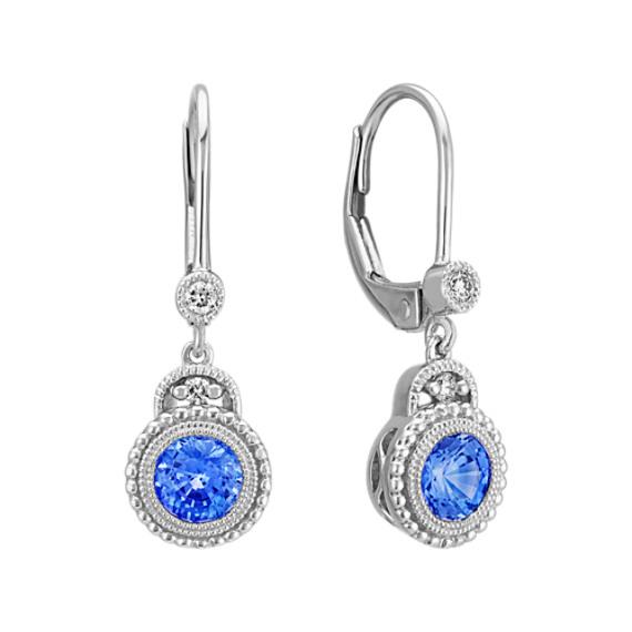 Round Kentucky Blue Sapphire and Diamond Earrings