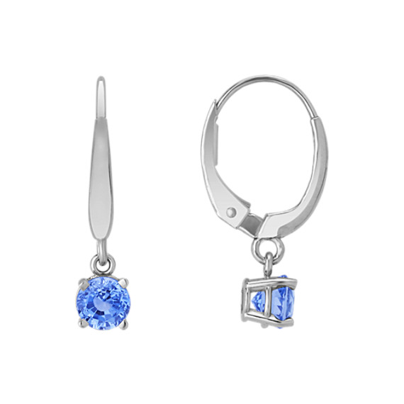 Round Kentucky Blue Sapphire Drop Earrings
