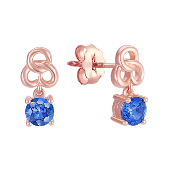 Round Kentucky Blue Sapphire Earrings in Rose Gold