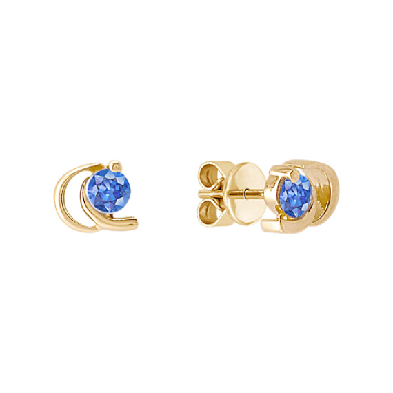 Round Kentucky Blue Sapphire Earrings