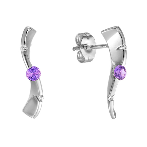 Round Lavender Sapphire and Diamond Three-Stone Earrings