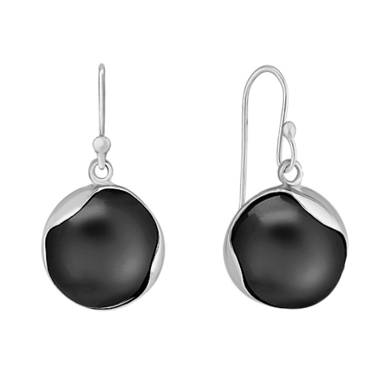 Round Modern Black Agate and Sterling Silver Earrings