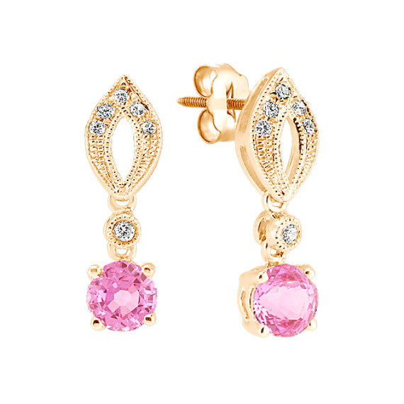 Round Pink Sapphire and Diamond Earrings