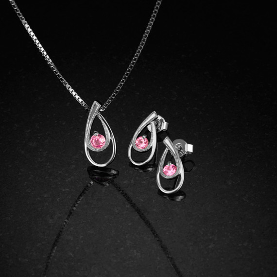 Round Pink Sapphire Sterling Silver Drop Earrings with Milgrain