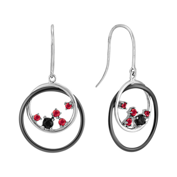 Round Ruby and Black Sapphire Earrings