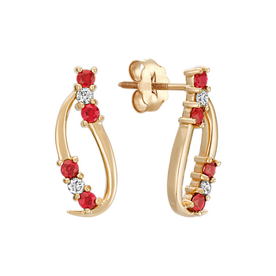 Round Ruby and Diamond Cluster Earrings