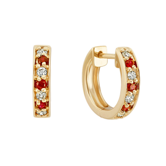 Round Ruby and Diamond Hoop Earrings