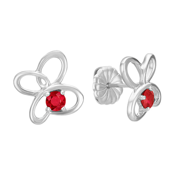 Round Ruby and Sterling Silver Floral Earrings