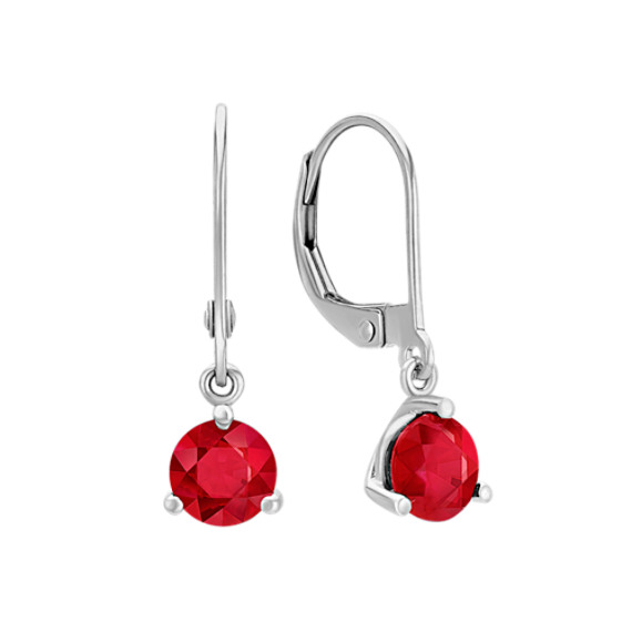 Round Ruby Dangle Leverback Earrings - 1.39 Carats