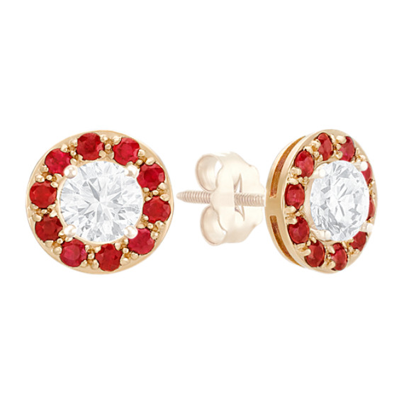 Round Ruby Earring Jackets