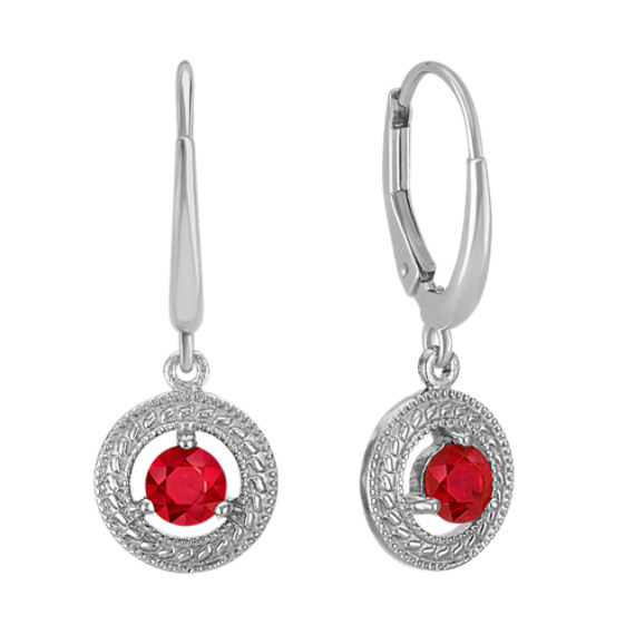 Round Ruby Leverback Circle Earrings