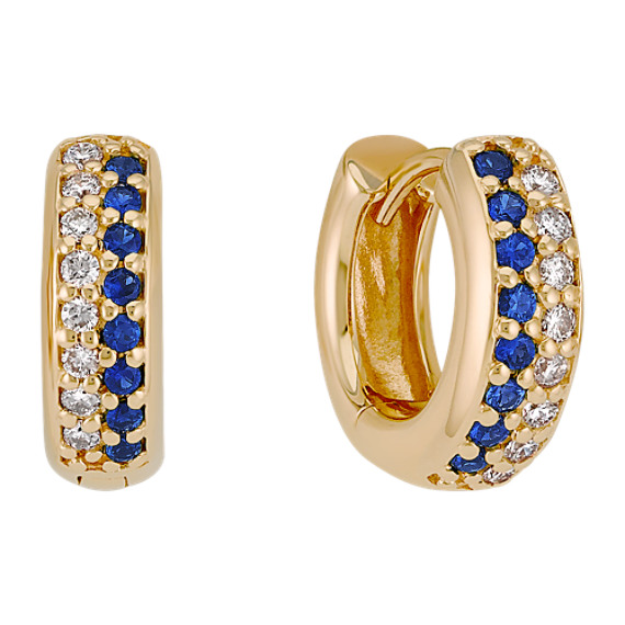 Round Sapphire and Diamond Hoop Earrings