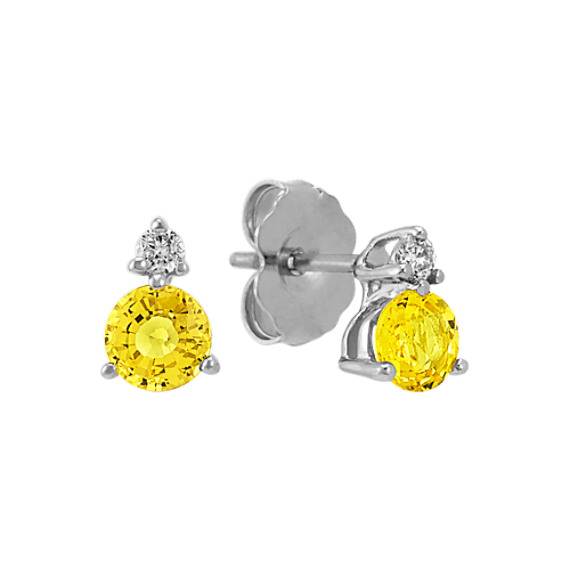 Round Yellow Sapphire and Diamond Earrings