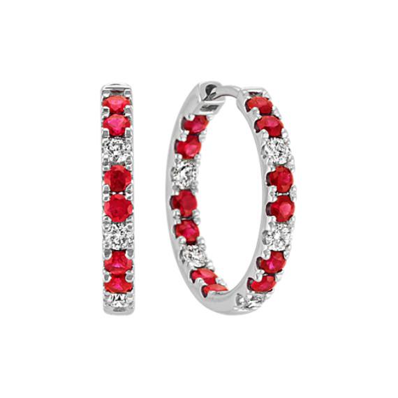 Ruby and Diamond Hoop Earrings in 14k White Gold