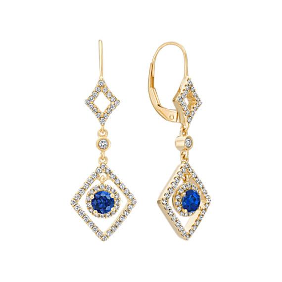 Sapphire and Diamond Dangle Earrings