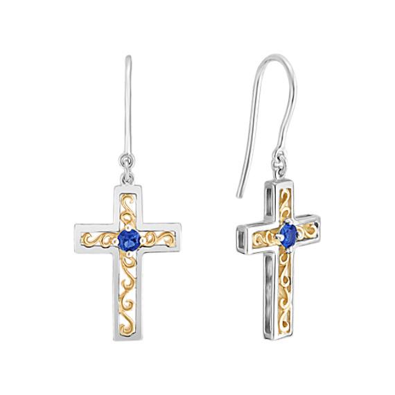 Sapphire Cross Earrings in Sterling Silver
