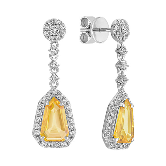 Shield Shaped Yellow Sapphire and Round Diamond Earrings