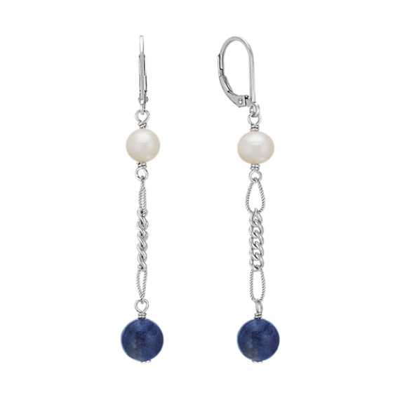 Sodalite, 6mm Cultured Freshwater Pearl and Sterling Silver Earrings