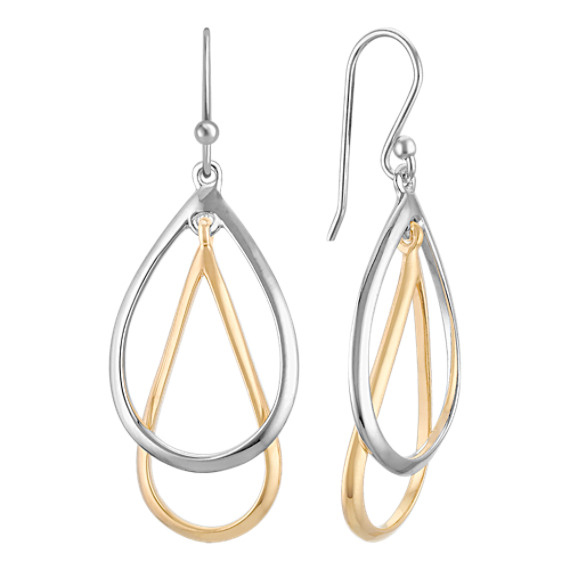 Sterling Silver and 18k Yellow Gold Dangle Earrings