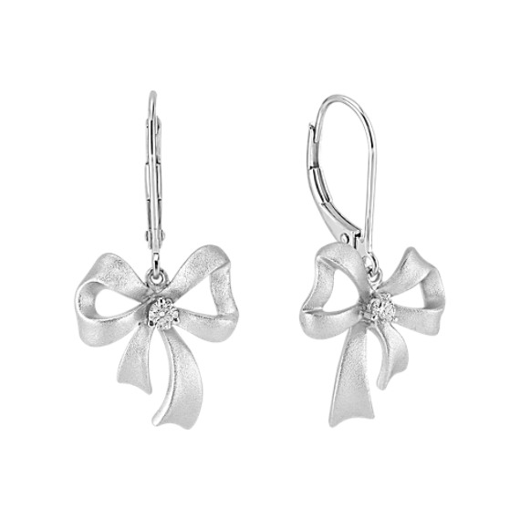 Sterling Silver Diamond Bow Earrings