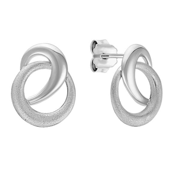 Swirl Circle Sterling Silver Earrings