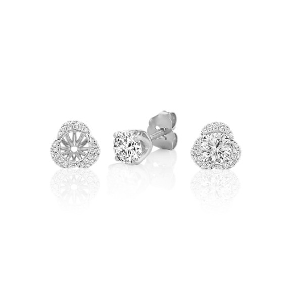 Three Petal Round Diamond Earring Jackets