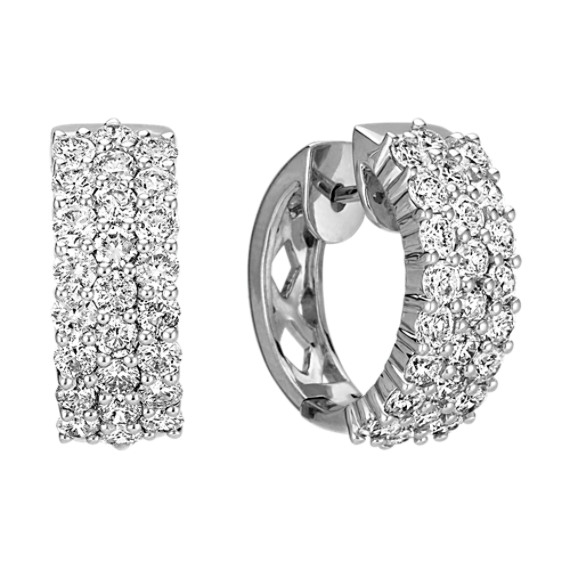 Three Row Round Diamond Hoop Earrings