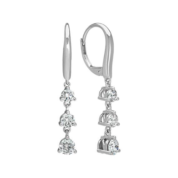 Three-Stone Round Diamond Dangle Earrings