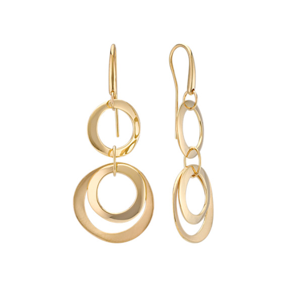 Tiered Circle Dangle Earrings in 14k Yellow Gold