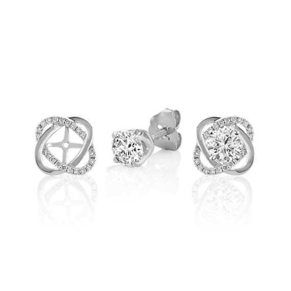 Twist Diamond Earring Jackets in White Gold