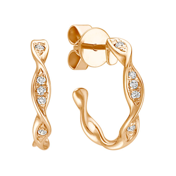 Twist Diamond Hoop Earrings in Yellow Gold