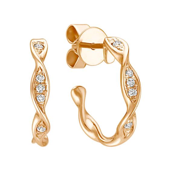 Twist Diamond Hoop Earrings in Yellow Gold