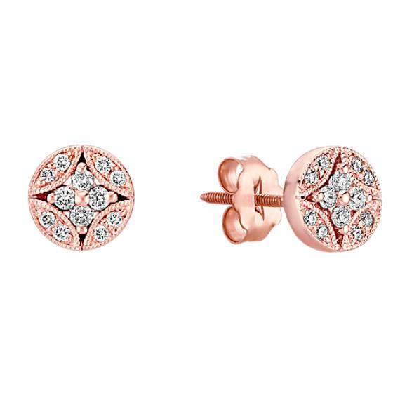 Vintage Diamond Circle Cluster Earrings in 14k Rose Gold