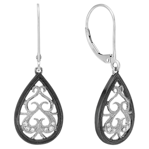 Vintage Diamond Tear-Drop Dangle Earrings with Black Rhodium