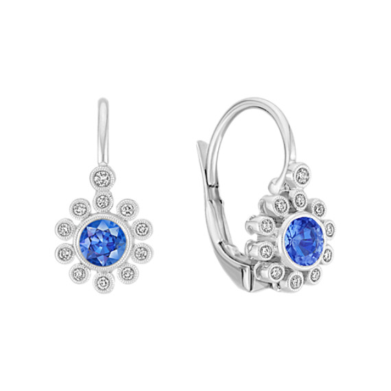 Vintage Kentucky Blue Sapphire and Diamond Earrings