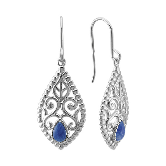 Vintage Sodalite and Sterling Silver Earrings