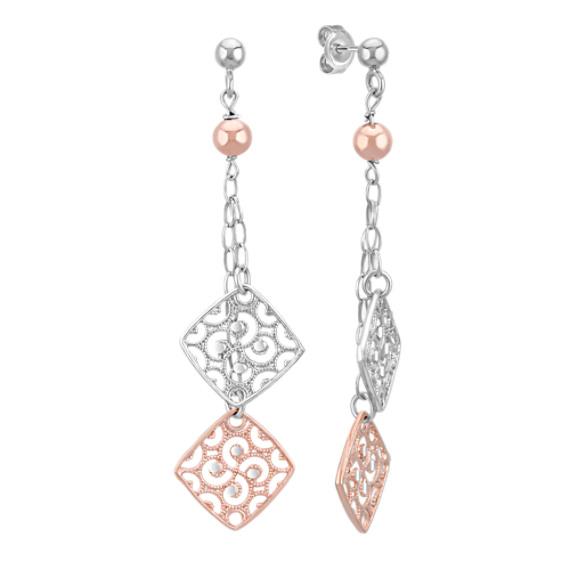 Vintage Sterling Silver and Rose Sterling Silver Dangle Earrings