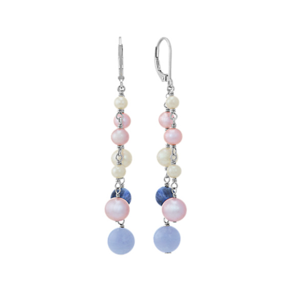 White and Lavender Freshwater Pearl, Sodalite, and Blue Lace Agate Earrings