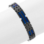 "Black and Blue Color Block Stainless Steel Link Bracelet (8.5"")"
