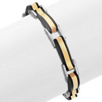 Black and Gold Plated Stainless Steel Bracelet (8.5)