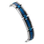 Blue and Black Stainless Steel Adjustable Bracelet (7.5)