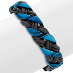 Leather and Blue Ionic Plated Stainless Steel Bracelet (8.5)
