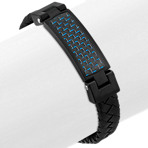 Leather and Stainless Steel Bracelet with Blue Carbon Fiber Accent (8 in.)