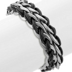 Stainless Steel and Black Leather Wrap Bracelet (8.5)