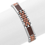 Stainless Steel Bracelet with Wood Carbon Fiber (8.5)