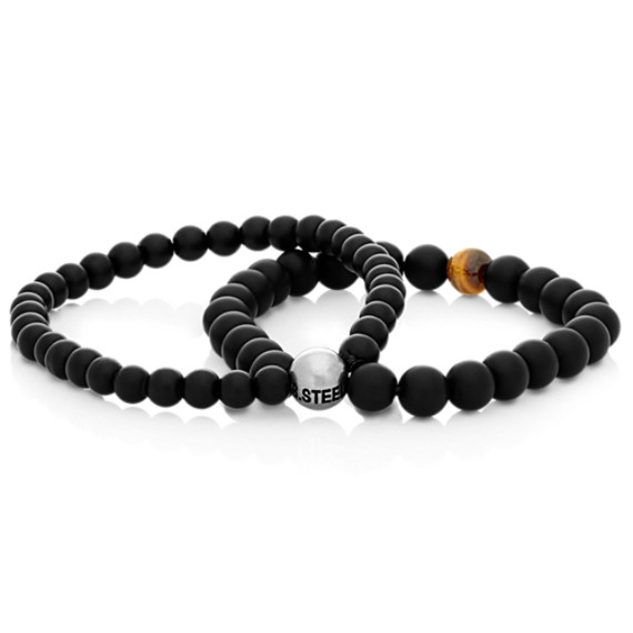 Black Agate, Tiger's Eye and Stainless Steel Bracelet (8.5 in.)
