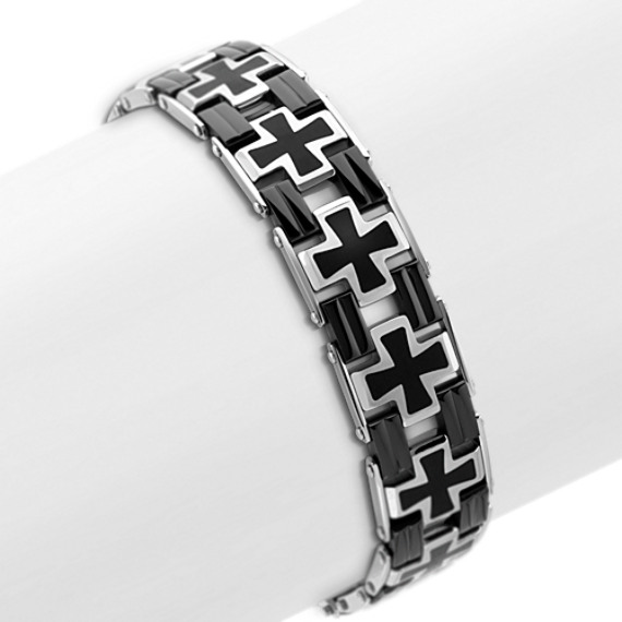 Black Stainless Steel Cross Bracelet (9)