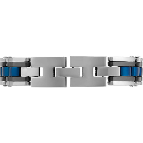 "Blue and Black Stainless Steel Adjustable Bracelet (7.5"")"
