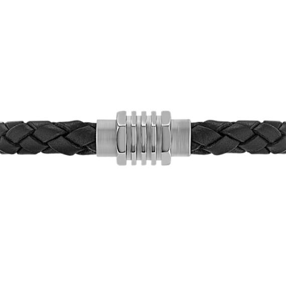 "Braided Leather and Stainless Steel Bracelet (8.5"")"